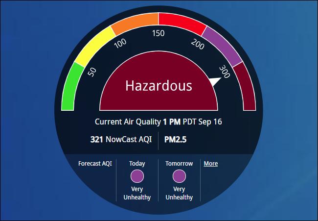 """AirNow montrant """"Dangereux"""" qualité de l'air."""