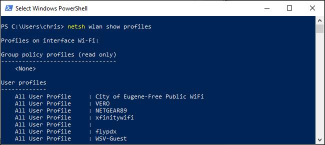 Liste des profils sans fil enregistrés dans PowerShell