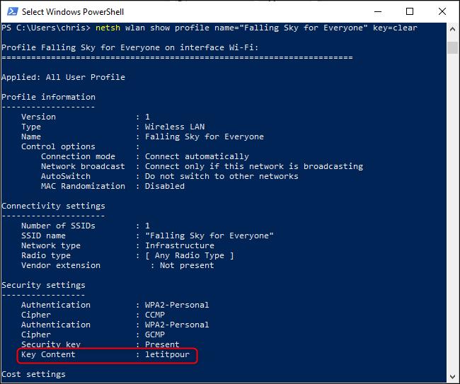 Recherche d'un mot de passe Wi-Fi enregistré à partir de la ligne de commande Windows