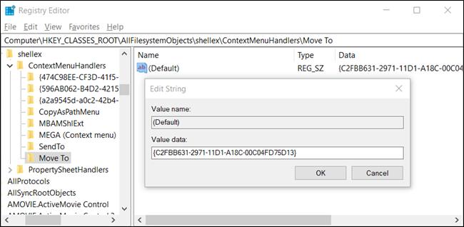 """le """"Modifier la chaîne"""" fenêtre contextuelle avec une chaîne dans le """"Données de valeur"""" champ."""