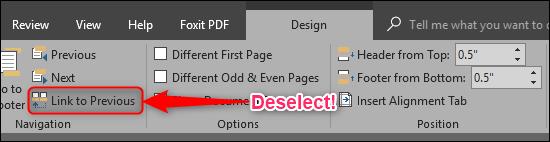 Dissocier la section précédente dans Microsoft Word