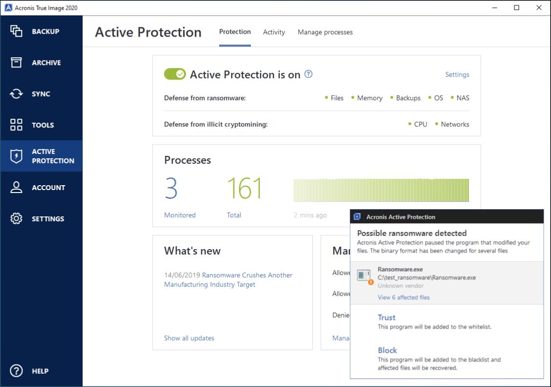 """le """"Protection active"""" dans le logiciel de rançon Acronis True Image."""