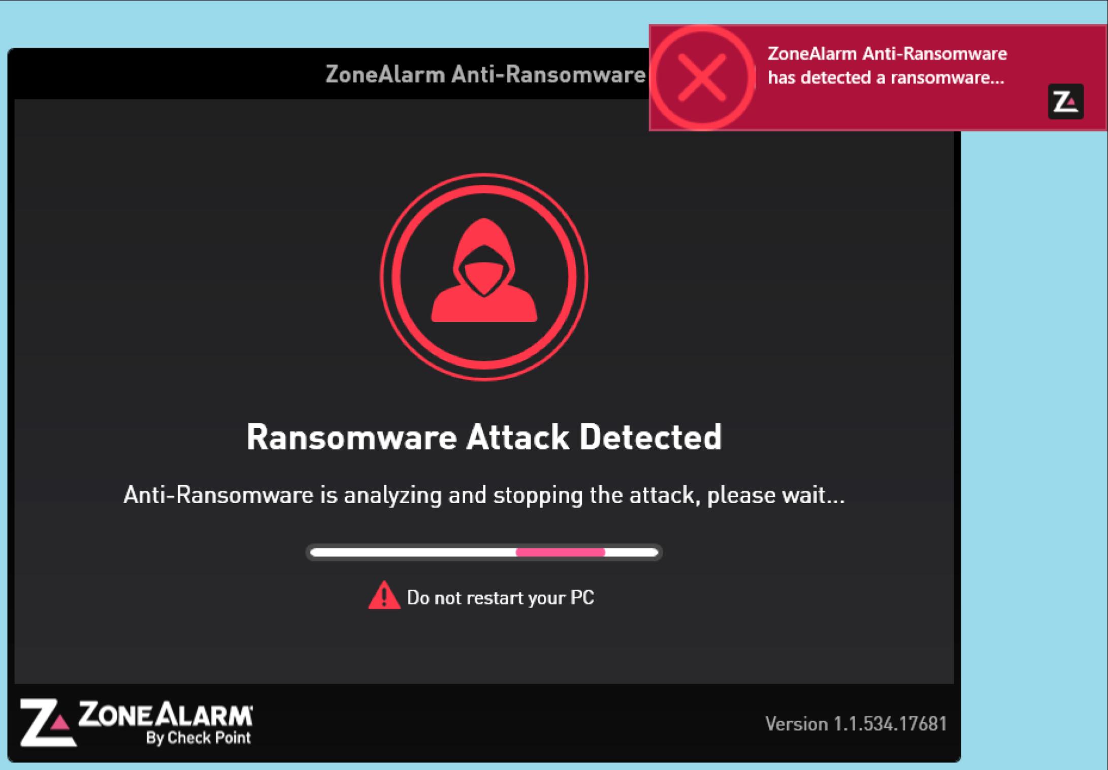 Le logiciel ZoneAlarm Anti-Ransomware.