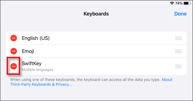 Supprimer le clavier tiers sur iPad