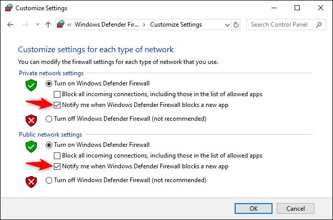 """Décochez la case """"M'avertir lorsque le pare-feu Windows Defender bloque une nouvelle application"""" option sous les paramètres de réseau privé et public."""