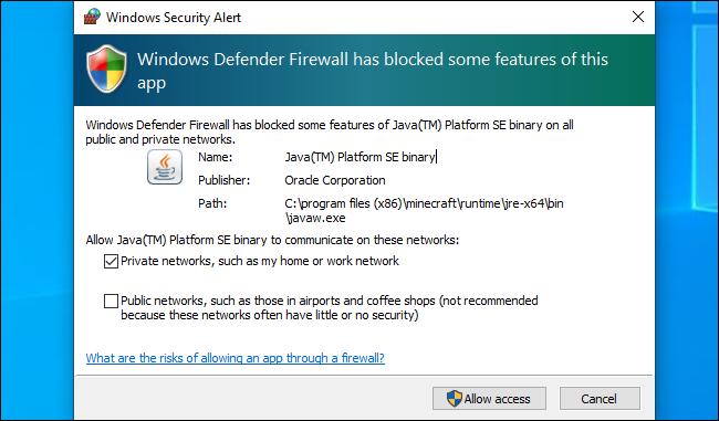 Alerte de sécurité Windows Defender sur Windows 10.