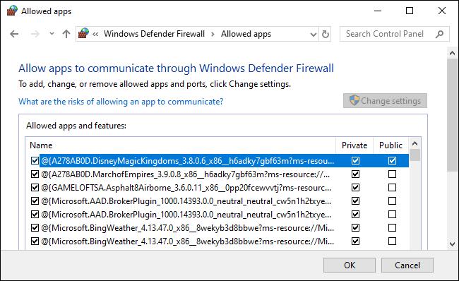 Une liste d'applications autorisées par le pare-feu Windows Defender.