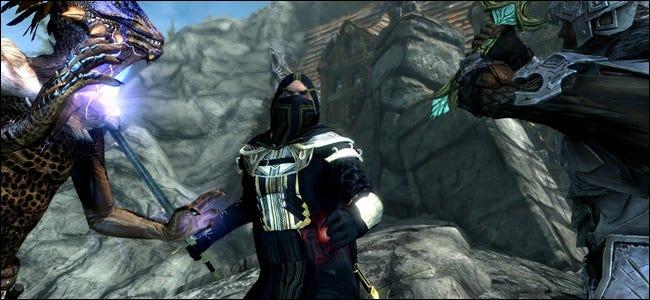 """Une scène avec trois personnages de """"The Edler Scrolls V: Skyrim"""" DLC."""