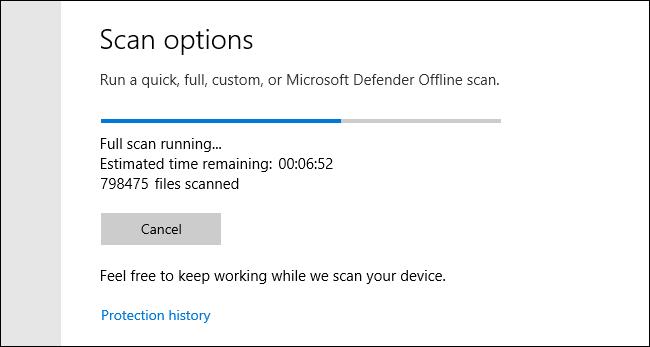 Analyse complète de Microsoft Defender en cours sur Windows 10