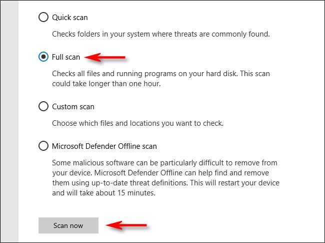 Cliquez sur Analyse complète dans Microsoft Defender sous Windows 10