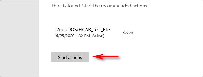 Menace détectée dans Microsoft Defender sous Windows 10