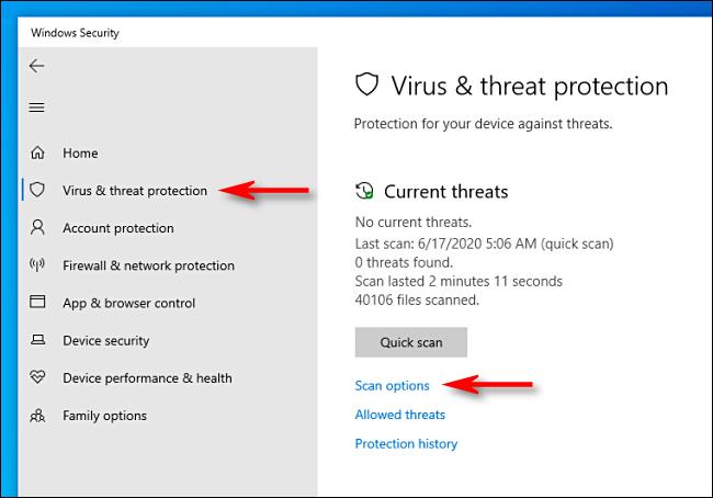 Cliquez sur Options d'analyse dans Microsoft Defender sous Windows 10