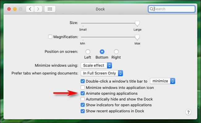 """Dans """"Dock"""" préférences sur Mac, décochez """"Animez les applications d'ouverture."""""""