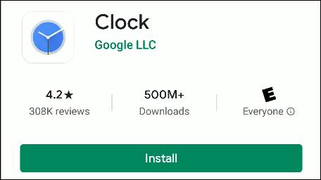 L'application Google Clock dans le Play Store.