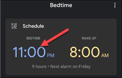Appuyez sur l'heure que vous avez définie comme heure du coucher.