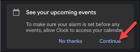 """Robinet """"Continuer"""" pour autoriser Google Clock à accéder à votre calendrier."""