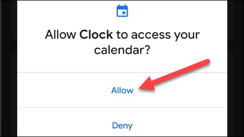 """Robinet """"Autoriser"""" pour autoriser Google Clock à accéder à votre calendrier."""