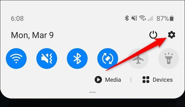 Samsung Galaxy S20 Appuyez sur l'icône d'engrenage Paramètres