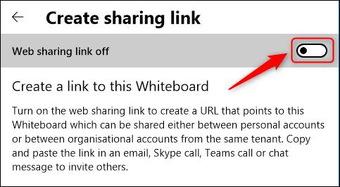 """Activer / désactiver""""Lien de partage Web désactivé."""""""