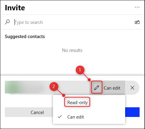 """Cliquez sur l'icône Stylo pour modifier les autorisations en """"Lecture seulement."""""""