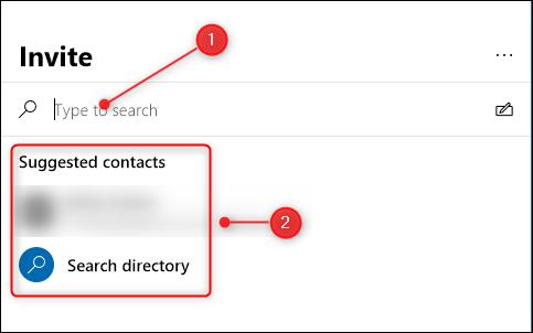 """Tapez le nom de la personne ou sélectionnez-le dans le """"Contacts suggérés"""" liste."""