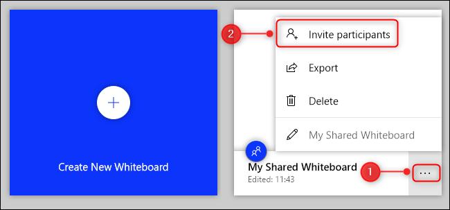 """Cliquez sur les points de suspension (...) En regard du tableau, puis cliquez sur """"Invitez des participants."""""""