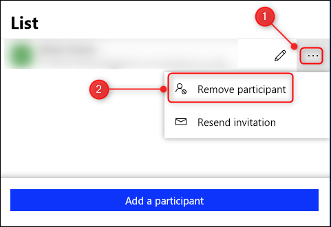"""Cliquez sur les points de suspension (...) En regard du nom de la personne, puis cliquez sur """"Supprimer le participant."""""""