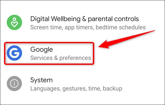"""Sélectionnez le """"Google"""" bouton"""