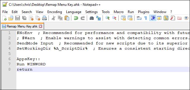Faire en sorte que la touche de menu lance Word avec un script AutoHotkey
