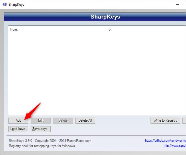 Fenêtre SharpKeys affichant le bouton Ajouter