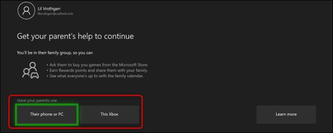 """La Xbox One """"Obtenez l'aide de vos parents pour continuer"""" menu."""