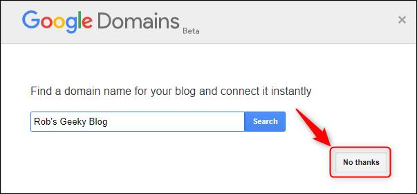 """Le panneau Google Domains, avec """"Non merci"""" Souligné."""
