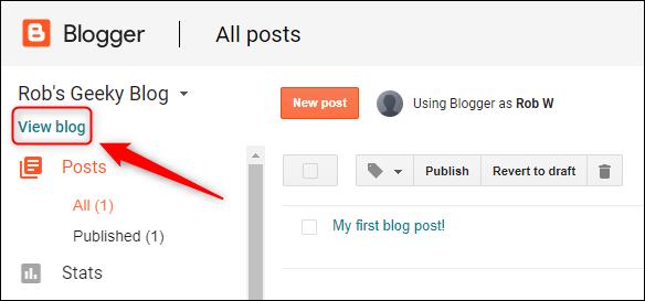 """le """"Voir le blog"""" option."""