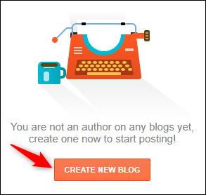 """Blogger """"Créer un nouveau blog"""" bouton."""