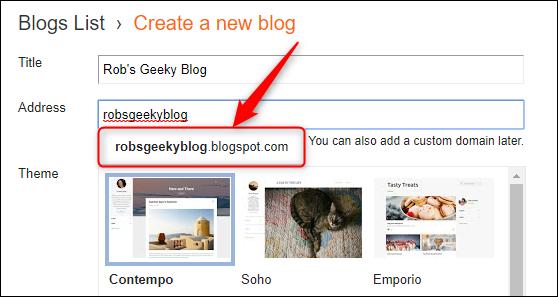 La liste déroulante affichant l'adresse complète du blogspot.