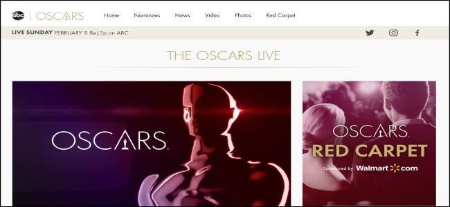 Le site Web ABC présentant les Oscars.