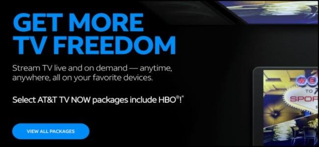 Le site Web AT&T TV Now.