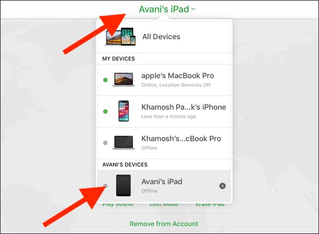Cliquez ou appuyez sur le menu déroulant Appareils et sélectionnez votre iPad.