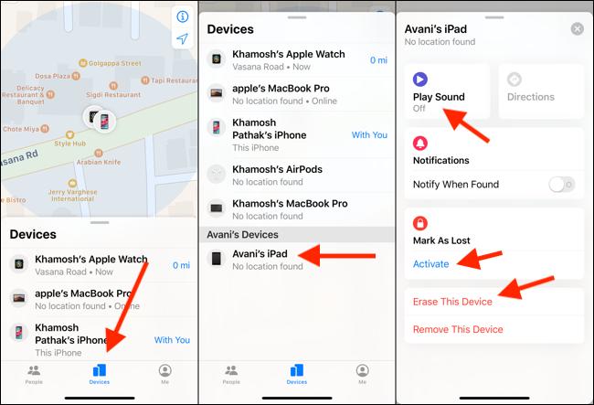"""Sur votre iPhone, appuyez sur """"Dispositifs,"""" sélectionnez votre iPad dans la liste, puis appuyez sur """"Jouer son,"""" """"Marquer comme perdu,"""" ou """"Effacez cet appareil."""""""