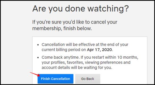 Annulation de fin de Netflix