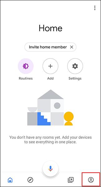 Appuyez sur l'onglet Comptes dans l'application Google Home.