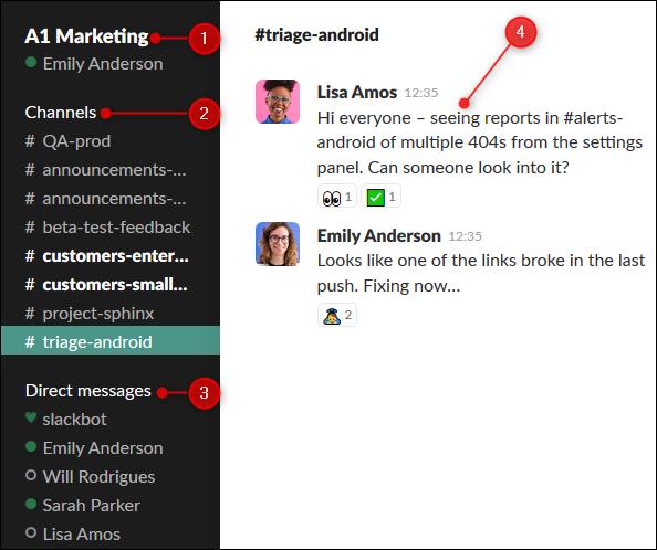 L'interface Slack avec le nom de l'instance, la liste des canaux et des DM et la fenêtre de discussion