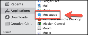 Lancez l'application Messages à partir du dossier Applications dans le Finder