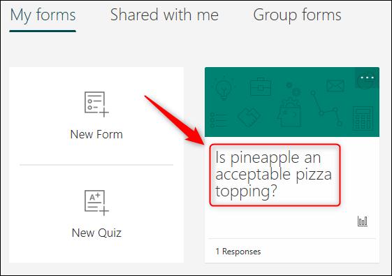 Le sondage affiché dans Microsoft Forms.