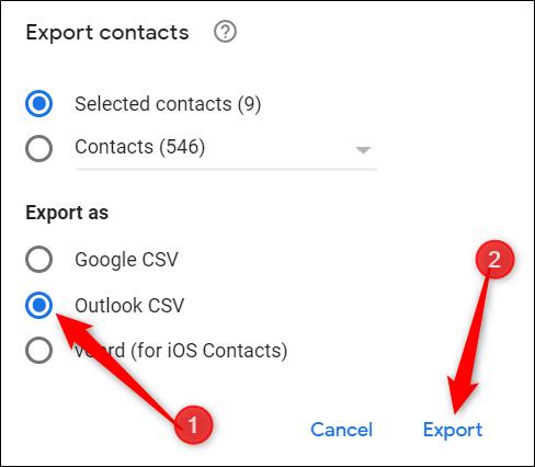 """Choisir """"CSV Outlook,"""" puis cliquez sur """"Exportation."""""""