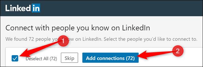"""Sélectionnez dans la liste des connexions --- ou cochez la case pour sélectionner toutes les connexions --- puis cliquez sur """"Ajouter des connexions"""" continuer."""
