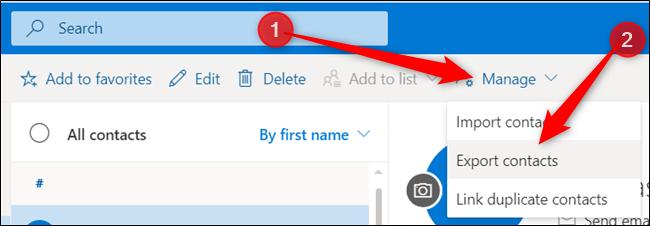 """Cliquez sur """"Gérer,"""" puis cliquez sur """"Exporter les contacts."""""""