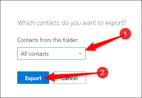 """Choisir """"Tous les contacts"""" ou un autre dossier contenant des informations de contact, puis cliquez sur """"Exportation."""""""
