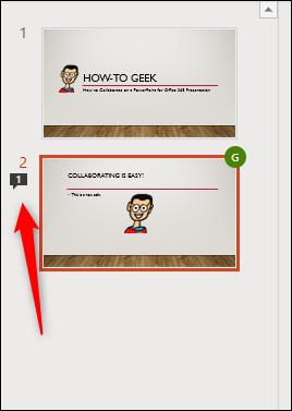 Une icône de bulle de message à côté d'une diapositive dans PowerPoint.