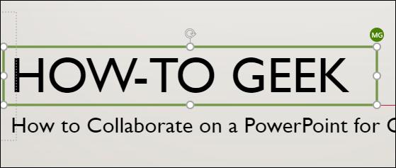 """Un titre sur une diapositive avec un """"MG"""" miniature à côté, indiquant que la personne travaille sur cette section."""